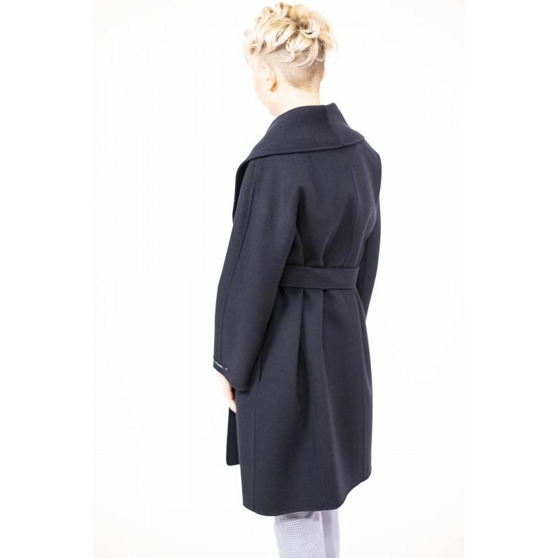 'S MAX MARA - Wool Coat with Belt  MESSI - Dark Blue