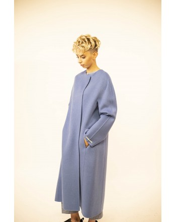 'S MAX MARA - DADACI Wool Coat with Belt - Intense Sky