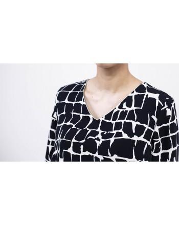 MAX MARA STUDIO - Croco style Printed Dress DESTINO  - White/Blue