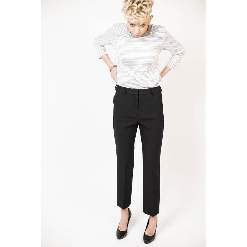 SMAX MARA - Elasticized cotton Trousers - Black