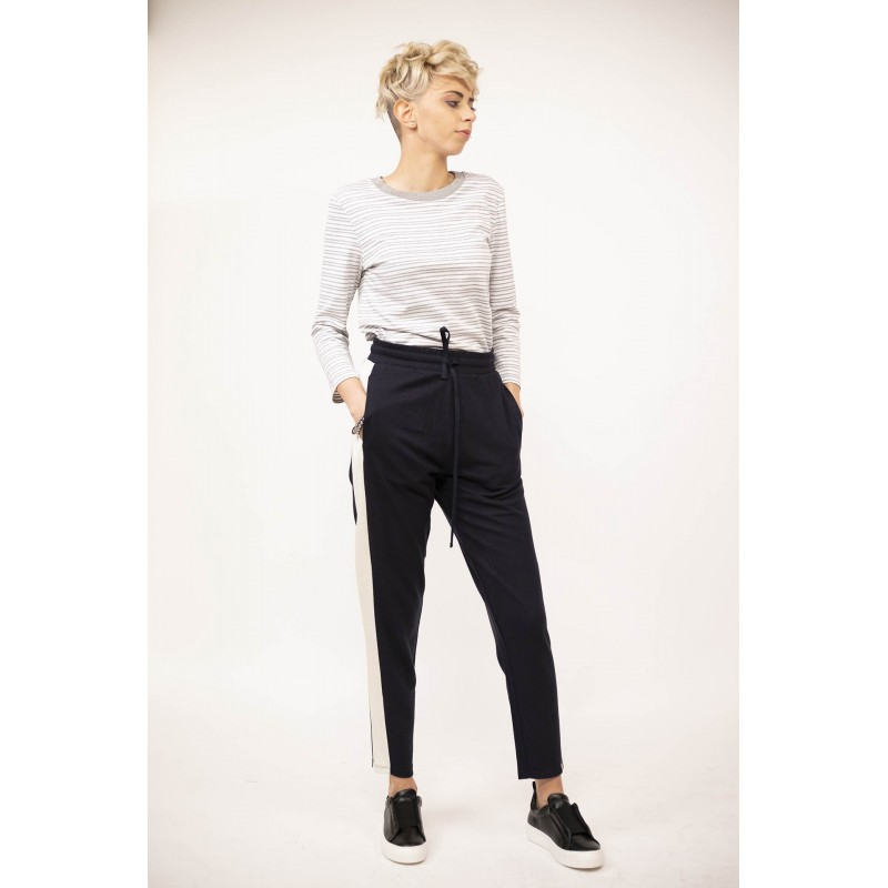 WEEK END MAX MARA - Pantalone con banda laterale - Blu/Bianco