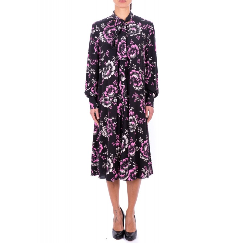 MCQ BY ALEXANDER MCQUEEN - Floral printed Cotton Dress with Bow - Black
