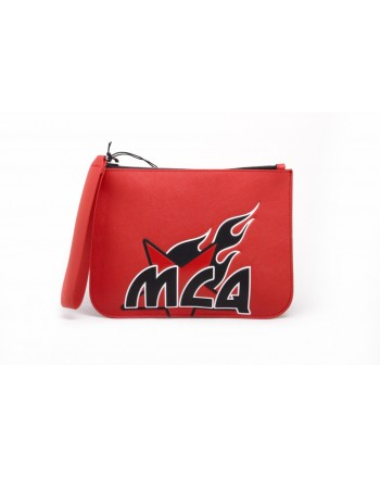 MCQ BY ALEXANDER MCQUEEN -  Leather MEDIUM POUCH - Riot Red