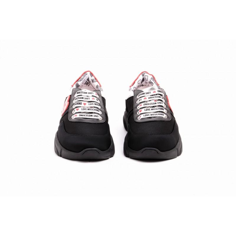 LOVE MOSCHINO - Sneakers con Cuore in Pelle e Tessuto - Nero