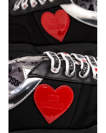 LOVE MOSCHINO - Heart Patch  Leather and Fabric Sneakers  - Black