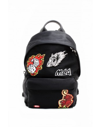 MCQ BY ALEXANDER MCQUEEN - Fabric backpack with patches - Black