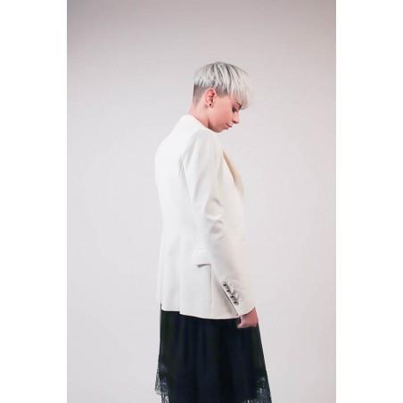 ecc701d161 Composition: 65% viscose, 30% poly, 5% elastane. Button closure. Reverse  Neck Sleeves Color: White
