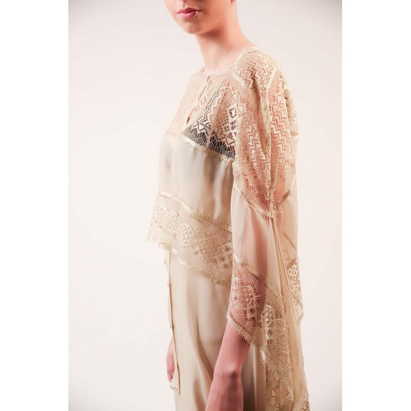 ALBERTA FERRETTI - Silk and Lace Shirt Dress - Champagne