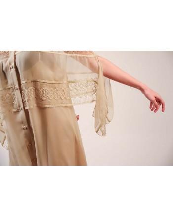 ALBERTA FERRETTI - Silk and Lace Shirt Dress - Champagne