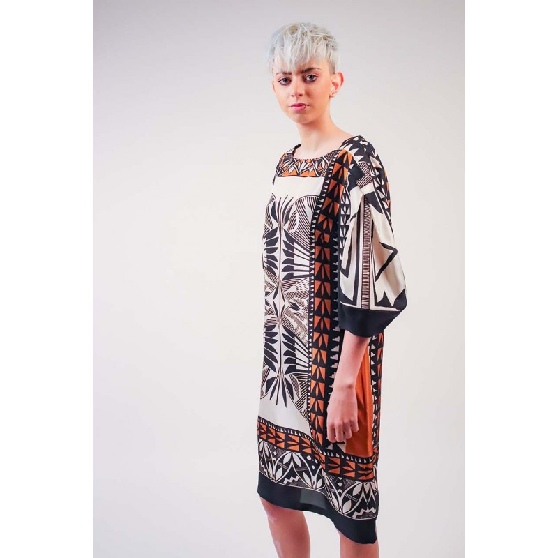 ALBERTA FERRETTI - Silk Tribal patterned Dress - Multicolour
