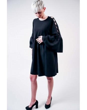 PINKO -.Crepe de Chine MINUZIOSO Dress - Black
