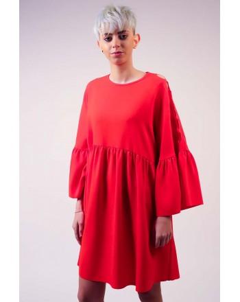 PINKO -. Crepe de Chine Dress MINUZIOSO - Red