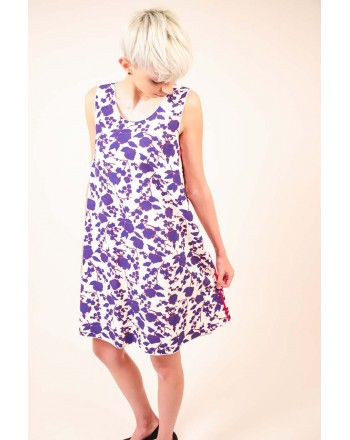 PINKO - Floreal print Dress - White/Cobalt/Red