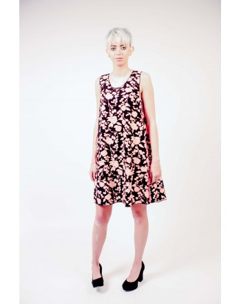 PINKO - Floral print Cady Dress - Black/Pale pink/Red