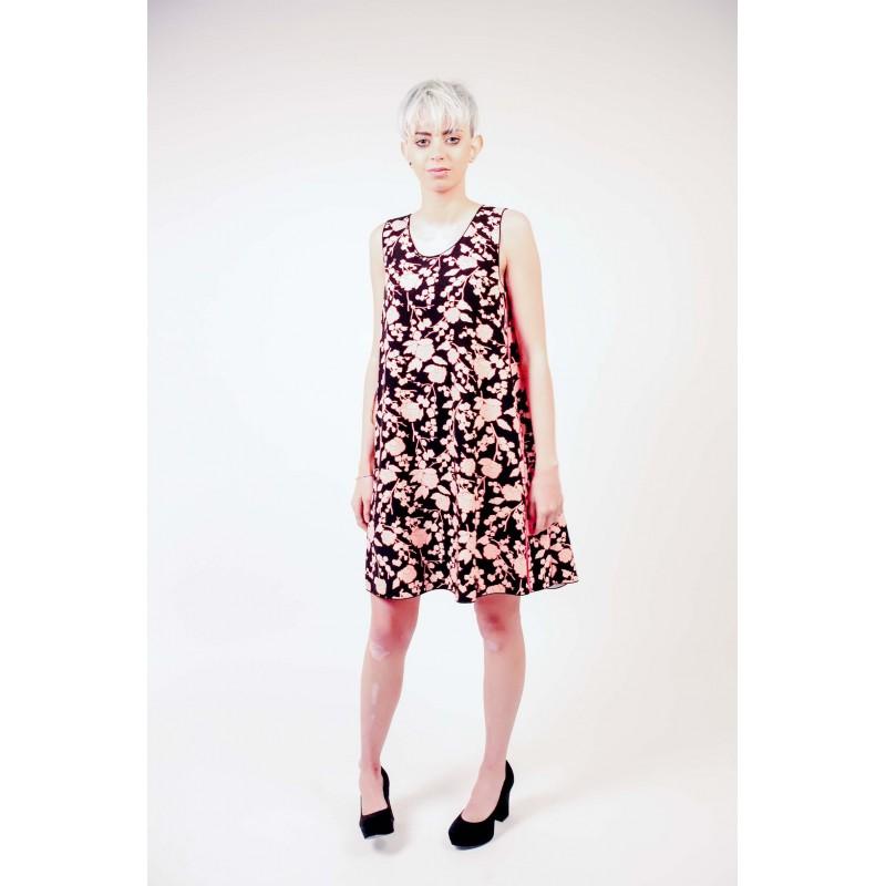PINKO - Floral print Cady Dress - Black/Pale pink/Red