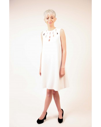 PINKO - Sleeveless PONDERATO Dress - White