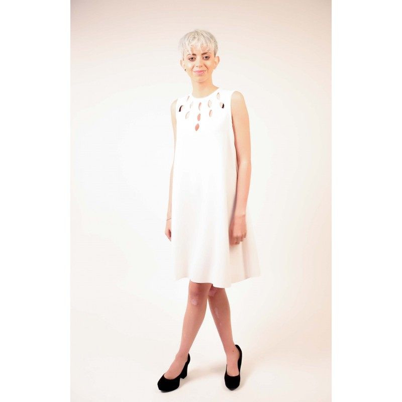 PINKO - Sleeveless PONDERATO Dress - White