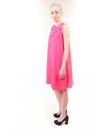 PINKO - Silk Crepe Dress PONDERATO - Fucsia