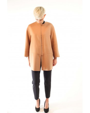 MAX MARA STUDIO - NANNI coat in silk and cashmere - Camel/light blue