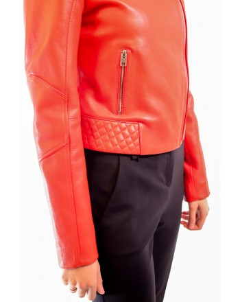 PINKO - BIKER leather Jacket - Red