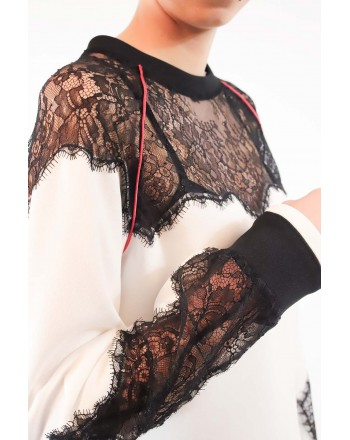 PINKO - DIDATTICO Sweater in Jersey and lace - White/Black