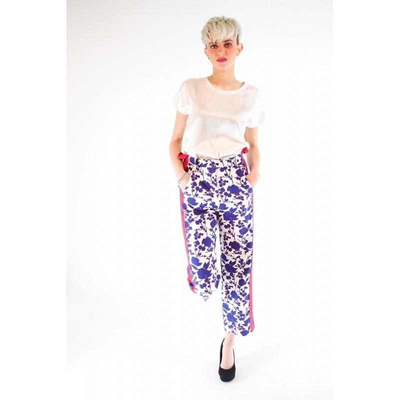 PINKO - Pantalone RAGGIRATO stampa fiori - Bianco/Cobalto/Rosso