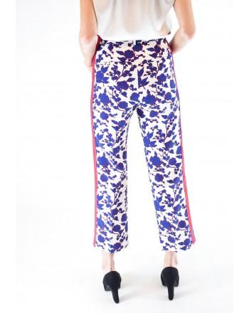 PINKO - RAGGIRATO Trousers flowers Print  - White/Cobalt/red