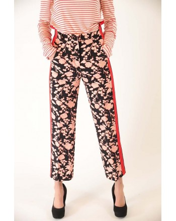 PINKO - RAGGIRATO Trousers flowers Print  - Black/powder/red