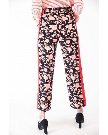 PINKO - Pantalone RAGGIRATO stampa fiori - Nero/Cipria/Rosso