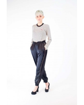 PINKO - ANARCHICO trousers in Viscose - Black/Pink