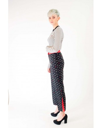 PINKO -  MORBIDO Trousers Elasticized - Black/White/Red