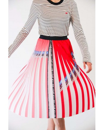 PINKO - Pleated Crepe de Chine Skirt ADORABILE - Red/White/Blue