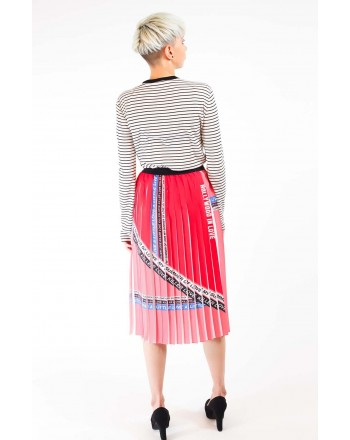 PINKO - Pleated Crepe de Chine Skirt ADORABILE - Red/White/Blue