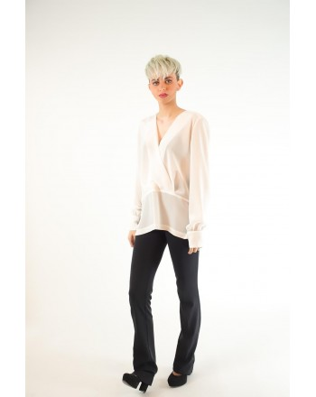 PINKO - COLTO in silk crepe de Chine blouse - White