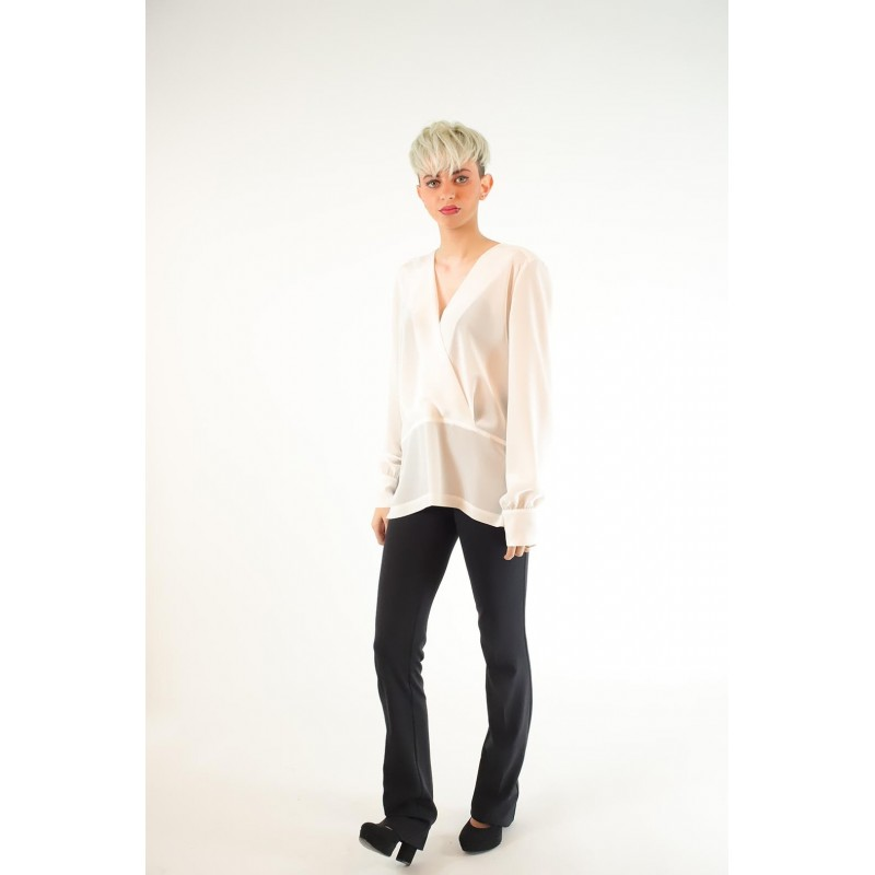 Pinko Chine Colto White De Crepe In Blouse Silk ygYbf7v6