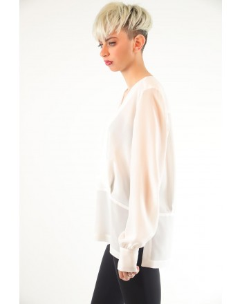 PINKO - Blusa COLTO in seta crepe de Chine - Bianco