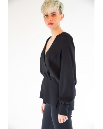 PINKO - COLTO in silk crepe de Chine blouse - Black