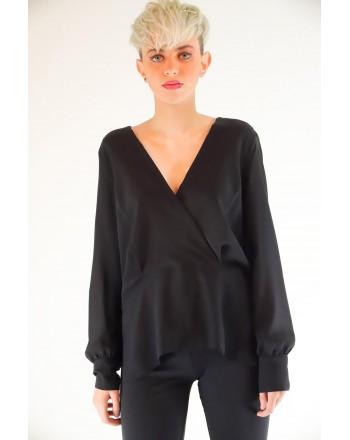 PINKO - COLTO in silk crepe de Chine blouse - Black