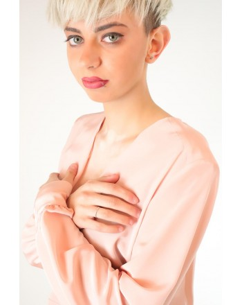 PINKO - COLTO in silk crepe de Chine blouse  - Pink