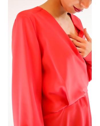 PINKO - Blusa COLTO in seta crepe de Chine - Rosso