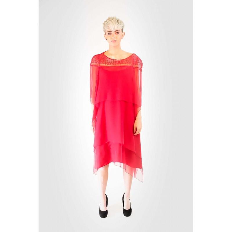 ALBERTA FERRETTI - Silk dress with Lace - Red