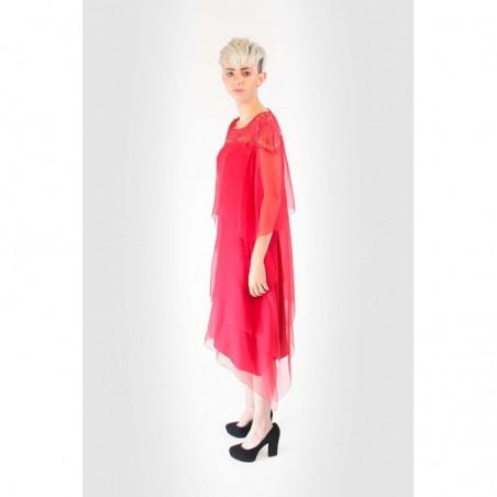 Alberta Ferretti Silk Dress With Lace Red