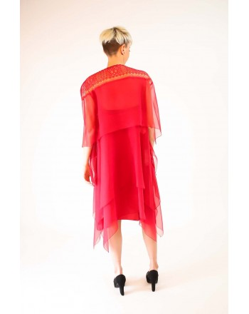 ALBERTA FERRETTI - Silk dress with Lace - Red