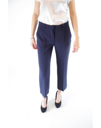 MAX MARA STUDIO - SALATO trousers in cotton cady - Blue