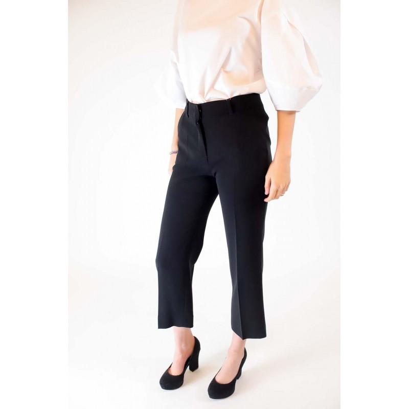 MAX MARA STUDIO - Cady Cotton Trousers SALATO  - Black