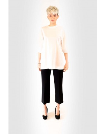 ALBERTA FERRETTI - Cotton T-Shirt with Puff Sleeves - White