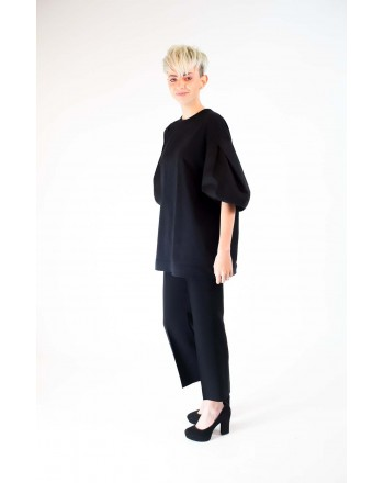 ALBERTA FERRETTI - Cotton T-Shirt with Puff Sleeves - Black