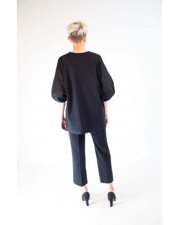 ALBERTA FERRETTI - Cotton T-Shirt with Puff Sleeves - Black