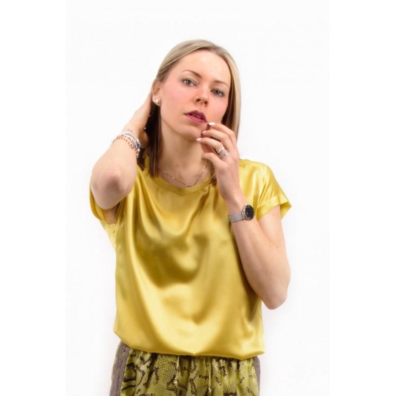 PINKO - Blusa in Seta Stretch FARISA - Verde