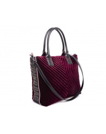 PINKO - Shopping bag ADAMS in Velvet - Bordeaux